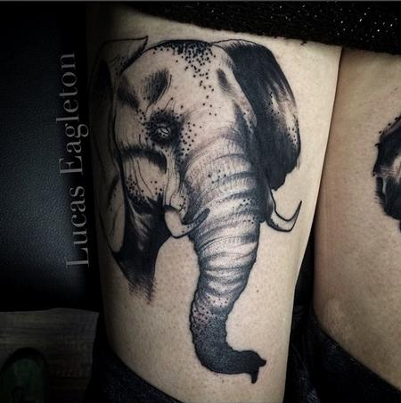 Freehand elephant 2 Tattoo Design by Lucas Eagleton