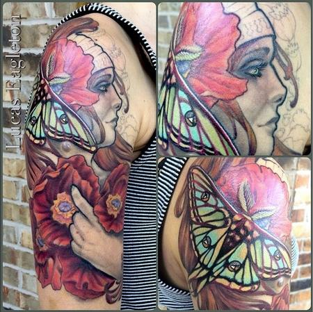 Art Nouvea Woman with Poppies and Luna Moth Tattoo Design by Lucas Eagleton