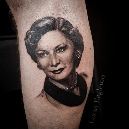 Portrait of Matts Grandmother Tattoo Design by Lucas Eagleton
