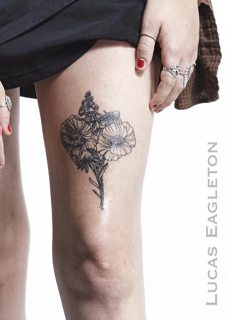 Blackwork Flower Bouquet Tattoo Design Thumbnail