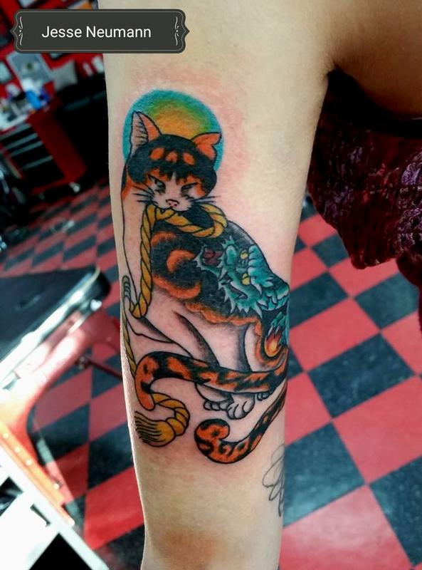 Japanese cat tattoo by jesse neumann tattoonow for Tattoo shops in castle rock