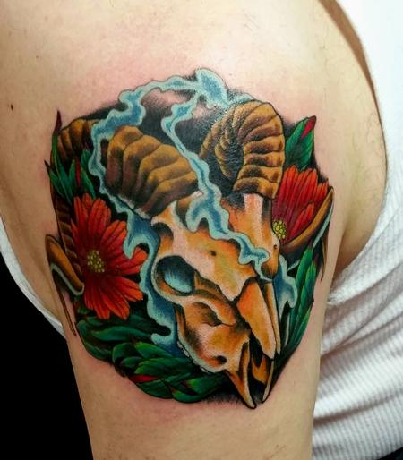 Tattoos - Ram Skull Tattoo - 119298