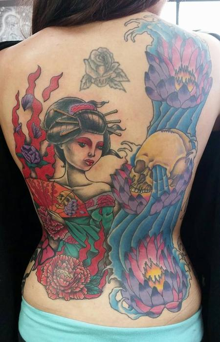 Tattoos - Geisha Back Tattoo - 115970