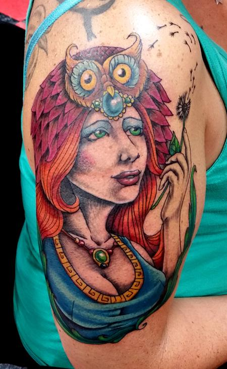 Tattoos - Owl headdress woman - 117368
