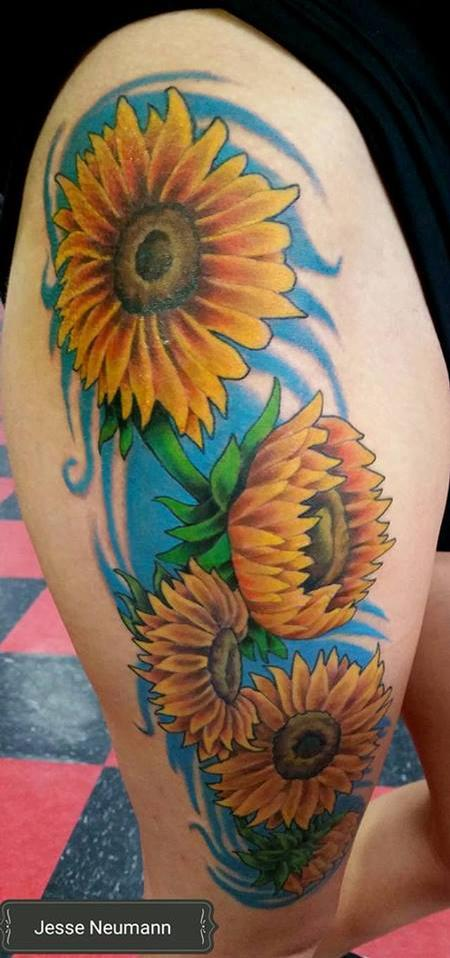 Tattoos - Sun Flower Tattoo - 119300