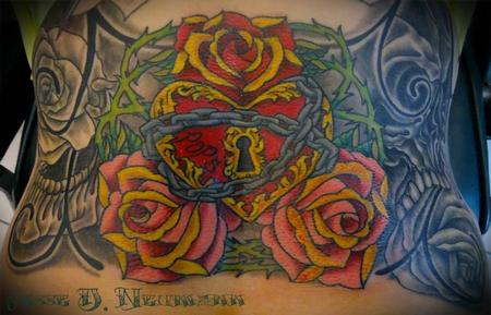 Tattoos - Heart locket and roses tattoo - 94002