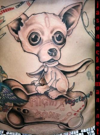 Chihuahuas on a mighty bone work in progress by jason for Jason ackerman tattoo