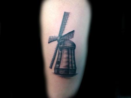 Tattoos - Black and Grey Windmill - 78682