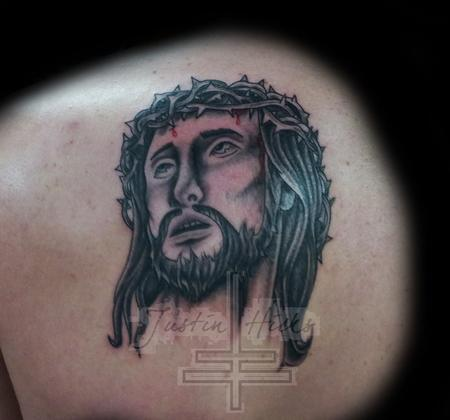 Tattoos - Black and Grey Jesus face Tattoo with thorns on head - 80927