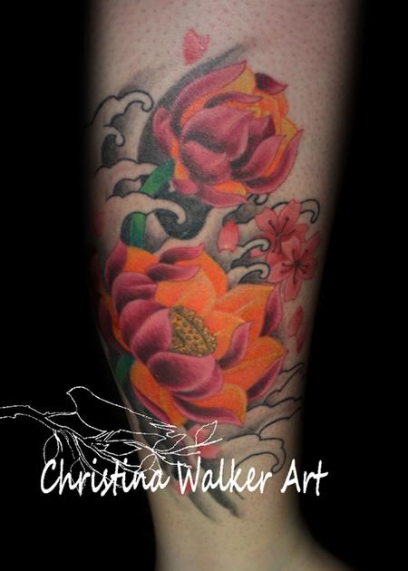Tattoos - Lotus and Cherry Blossoms and Waves - 62195