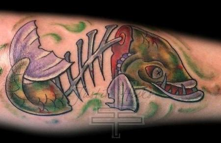 Tattoos - Full color New School dead fish tattoo - 79857