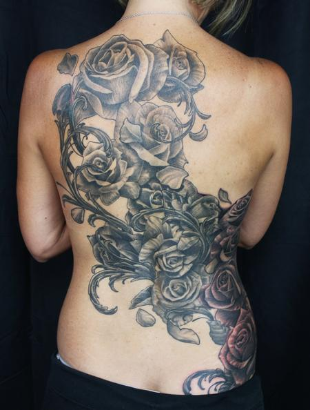 Jared Preslar - Rose Backpiece Tattoo