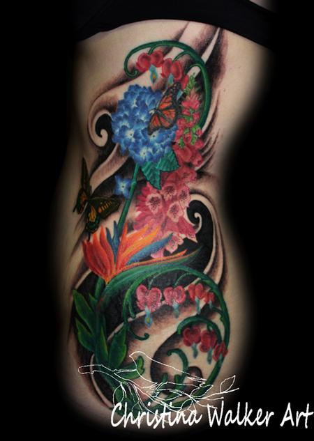 Tattoos - Floral Side Piece - 62187