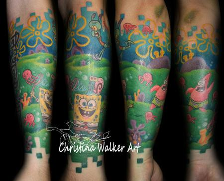 Tattoos - Spongebob Squarepants Half Sleeve - 62184