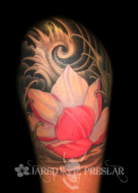Tattoos - Flowing Lotus Flower Tattoo - 70686