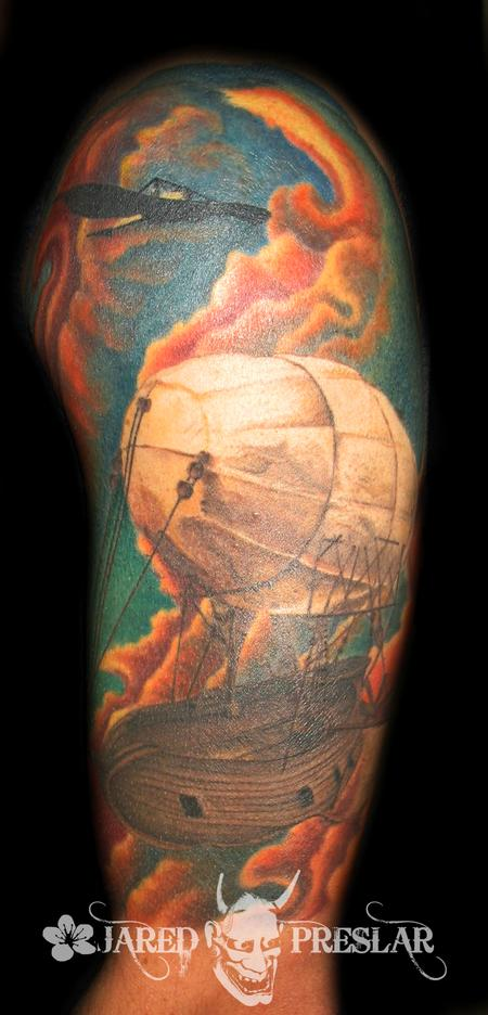 Jared Preslar - Airship half sleeve tattoo