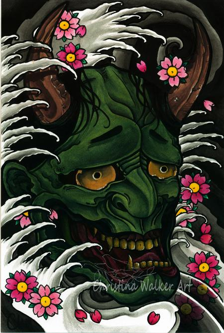 Tattoos - Green Hannya - 62060