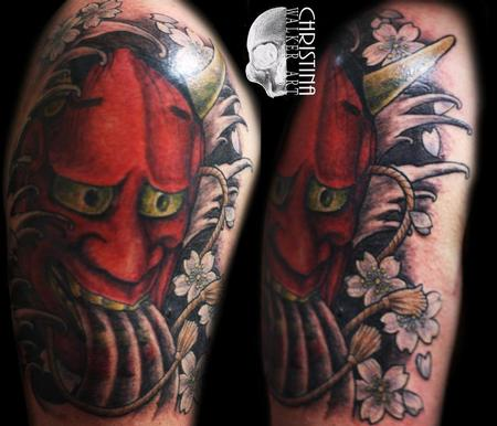 Christina Walker - Red Hanya Mask Tattoo