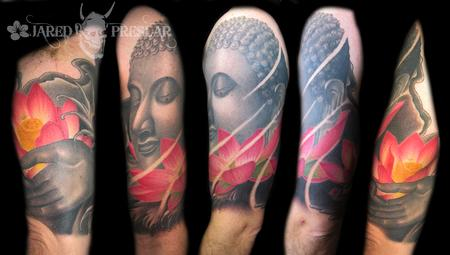 Jared Preslar - Buddha and lotus flower tattoo