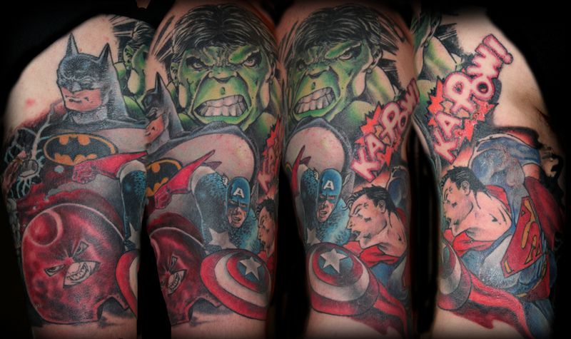 dc vs marvel by dan stewart tattoos