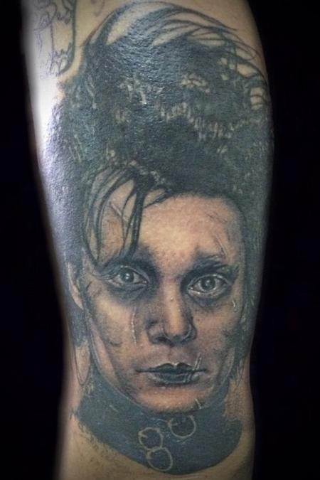 Edward scissor hands portrait Tattoo Design Thumbnail