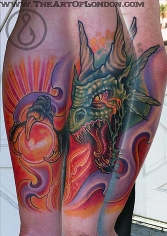 Brittan London Reese - Gnar Dragon Beast Tattoo