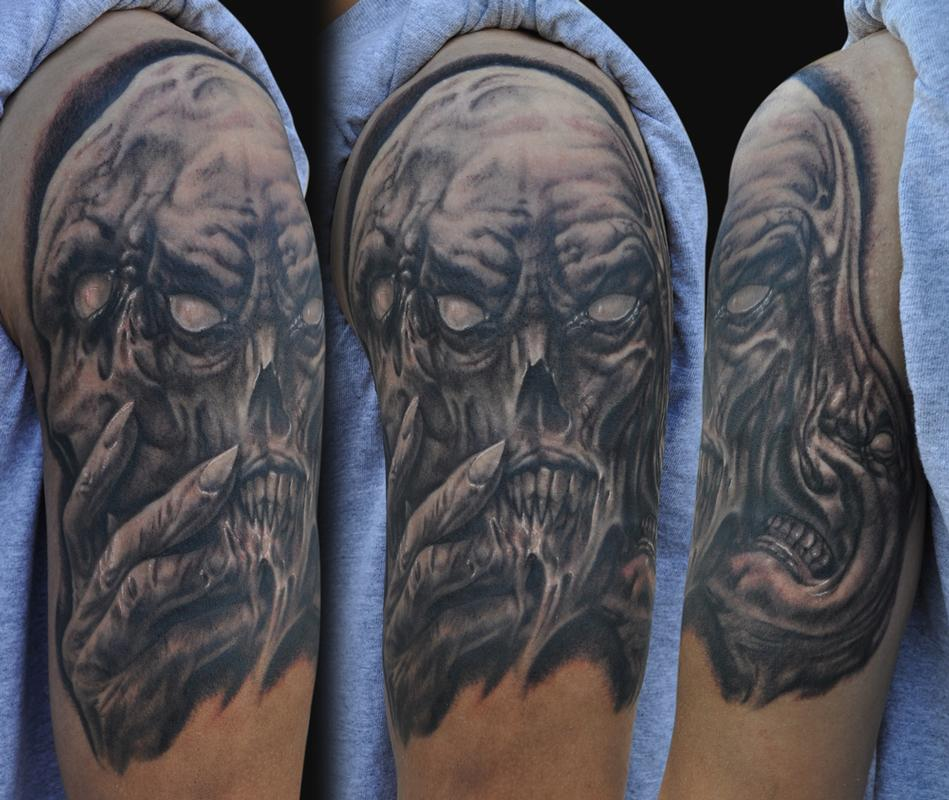 Evil faces tattoo by jamie lee parker tattoonow for Evil tattoo sleeve