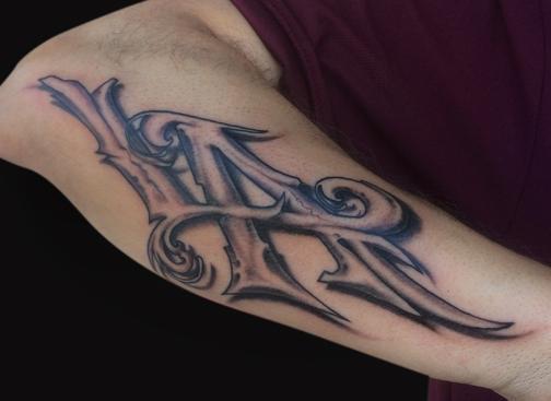 LA Lettering tattoo by Spencer Caligiuri: TattooNOW