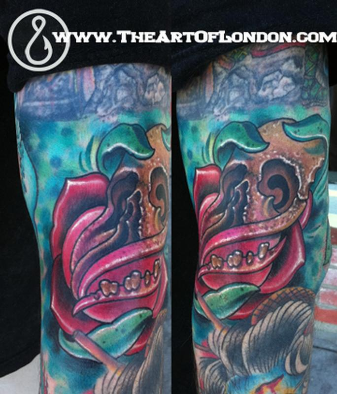 Brittan London Reese - Skully Rose Morph Tattoo