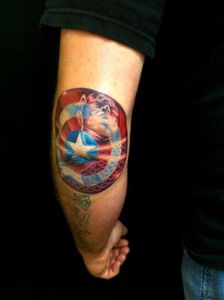captain america shield by marc durrant tattoonow. Black Bedroom Furniture Sets. Home Design Ideas