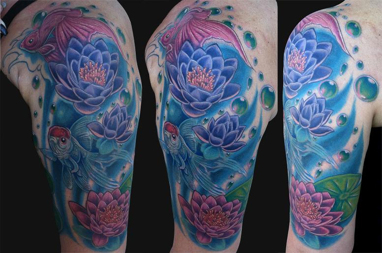 Goldfish and lotus half sleeve by marc durrant tattoonow for Lotus sleeve tattoo