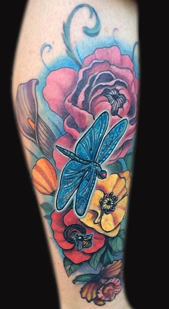 Dragonfly and flowers tattoo Tattoo Design