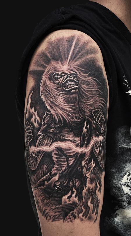 Eddie Iron Maiden Arm Tattoo Design Thumbnail