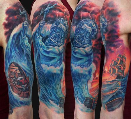 poseidon half sleeve tattoo by jamie lee parker tattoonow. Black Bedroom Furniture Sets. Home Design Ideas