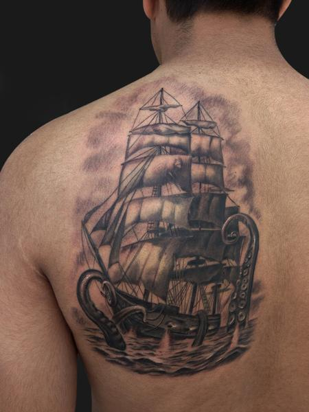 Pirate ship and Kraken Tattoo Tattoo Design Thumbnail