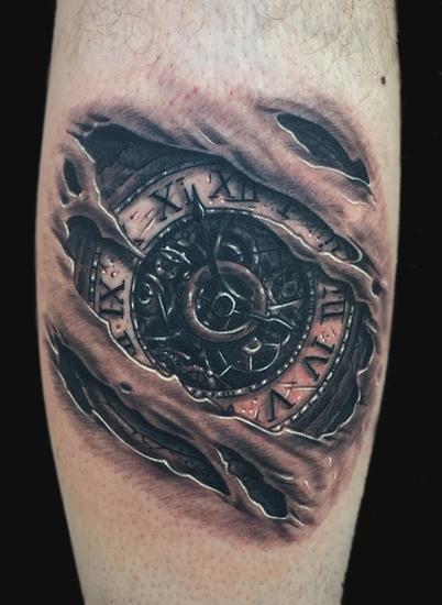 Clock tattoo by daniel chashoudian tattoonow for Tattoos on old skin