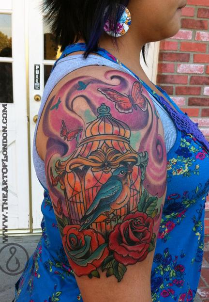 Bird Cage and Roses Tattoo Tattoo Design Thumbnail