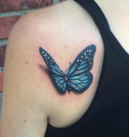 Spencer Caligiuri - 3D Blue Butterfly Tattoo
