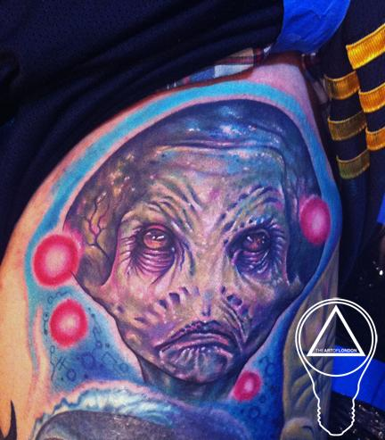 Alien Sculpture Color Portrait Tattoo Design Thumbnail