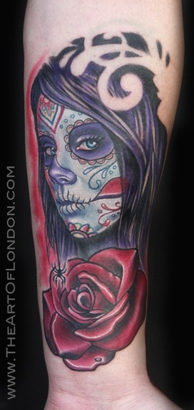 London Reese - Day of the Dead Girl w Rose Tattoo