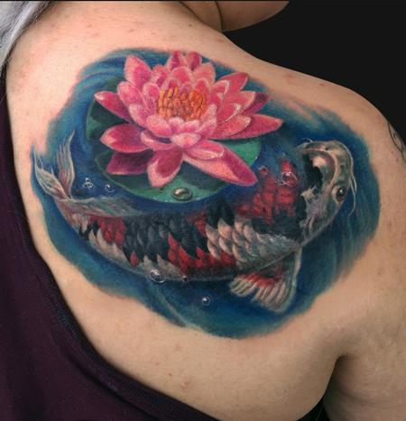 Koi Fish and Lotus Shoulder Tattoo Design Thumbnail