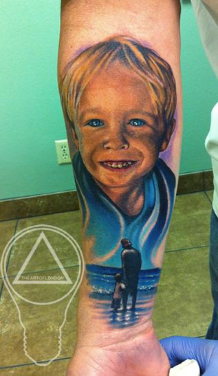 Little Boy Color Portrait & Father / Son on Beach Tattoo Tattoo Design Thumbnail