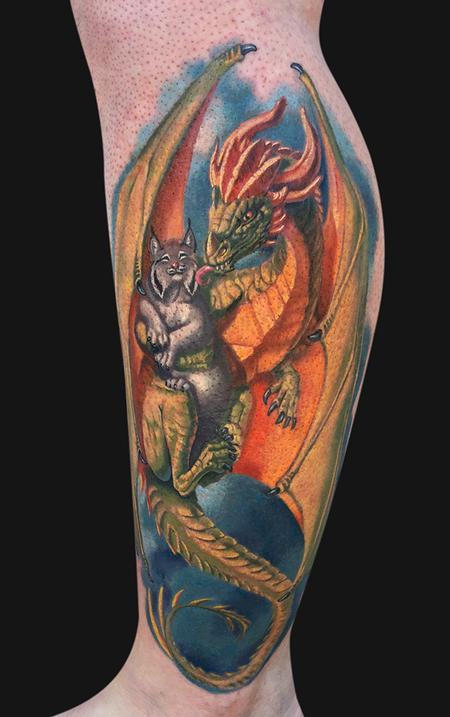 Dragon and Lynx Leg Tattoo Design Thumbnail