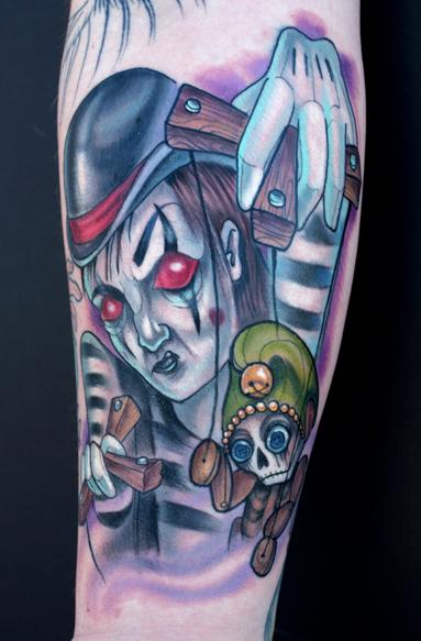 Katelyn Crane - Evil Mime Puppeteer tattoo