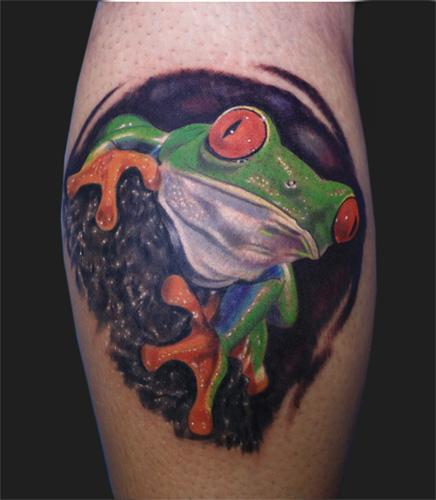 Tattoos - Re eyed tree frog - 96332