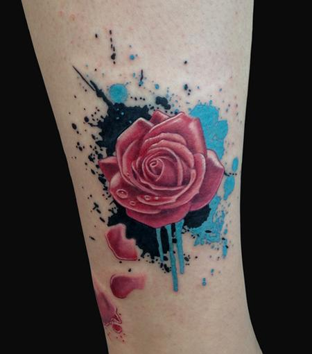 Splatter Rose Tattoo Design Thumbnail