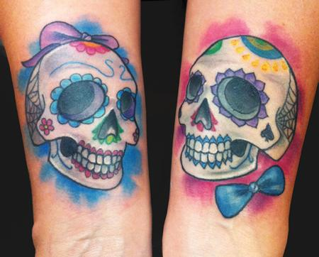 Sugar love skulls tattoo by katelyn crane tattoos for Skull love tattoos