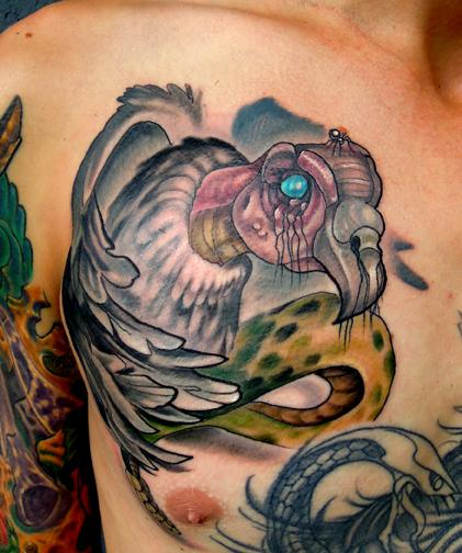 Katelyn Crane - Snake Vulture Tattoo