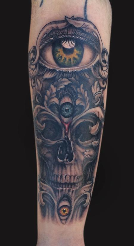 Spencer Caligiuri - Third Eye Skull Tattoo