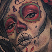Tattoos - Day Of The Dead Girl and Skull Tattoo - 93213